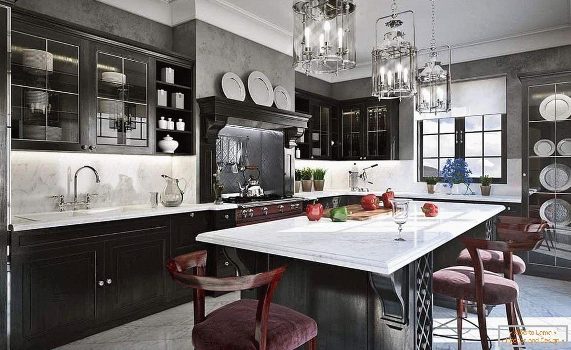 Das design der schwarz-weiß-küche im innenraum: eine