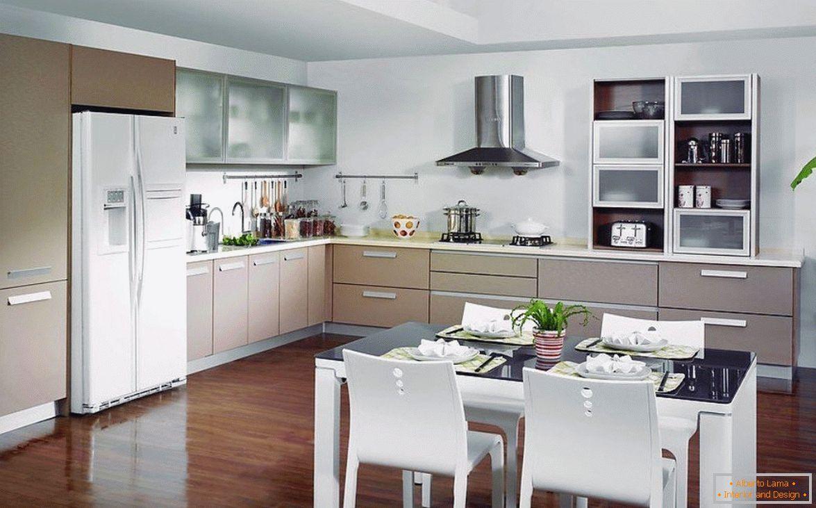 Küche-esszimmer-wohnzimmer-design in einem privaten haus