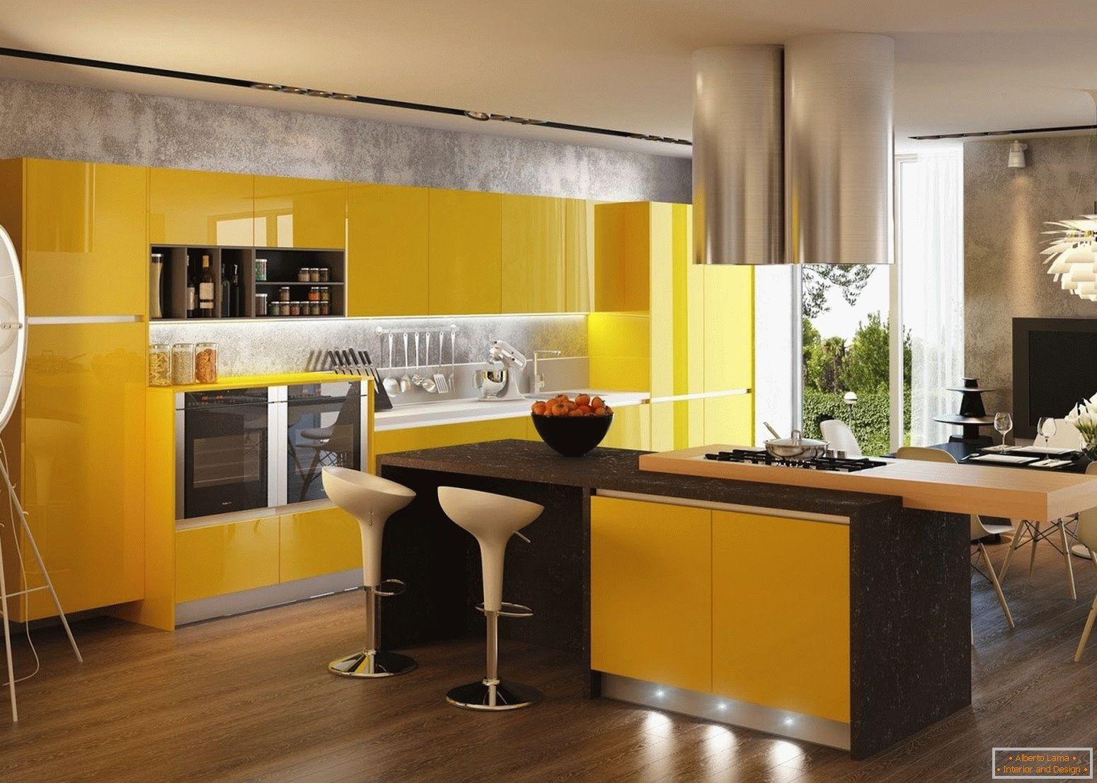 Gelbe Farbe Im Inneren Der Kuche 5 Tipps Und 75